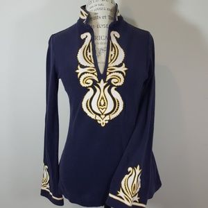 Tory Burch embroidered navy blue sweater
